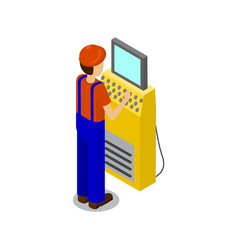 Employee typing data on screen vector