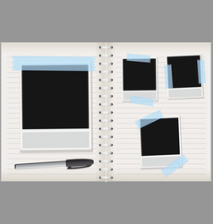 empty photo frames on notebook background vector image
