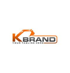 excavator logo template - letter k vector image