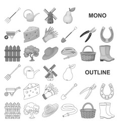 farm and gardening monochrom icons in set vector image