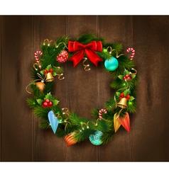 Festive Christmas Wreath Poster vector image