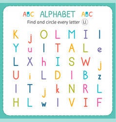 Find and circle every letter l worksheet vector