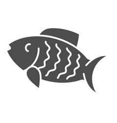 fish solid icon animal vector image