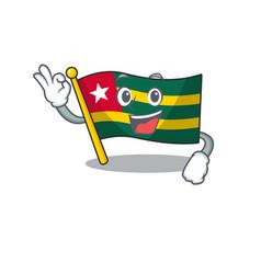Flag togo scroll mascot design making an okay vector