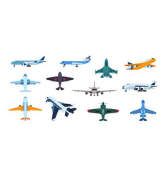 Flat airplanes plane flight take off and landing vector