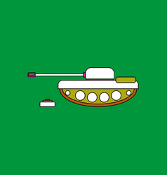 Flat icon design collection military tank and mine vector