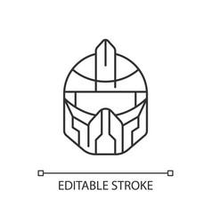 futuristic helmet black glyph icon vector image