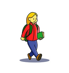 Girl Teen Go To School vector image