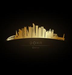 golden doha skyline vector image