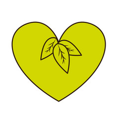 green heart with leaves vegan food vector image