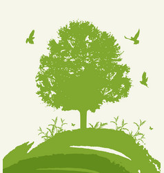 Green tree and birds vector