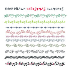 Hand drawn set of colorful wreaths ribbons vector