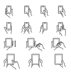 Hand touching screen icons vector