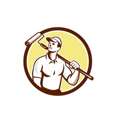 Handyman House Painter Paint Roller Circle Retro vector