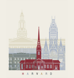 Harvard skyline poster vector