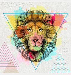 Hipster animal lion on artistic polygon vector