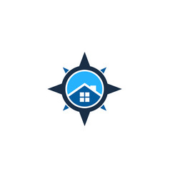 Home compass logo icon design vector