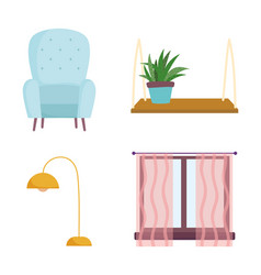 home room furniture chair lamp window and plant in vector image