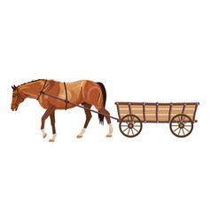 Horse with cart vector