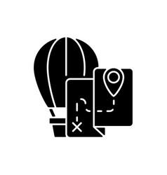 hot air balloon tourism black glyph icon vector image