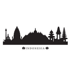 Indonesia landmarks skyline in black and white vector