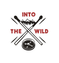 into the wild - outdoors adventure badge with vector image
