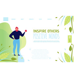 Landing page template motivating to think positive vector