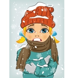 Little girl freezing in winter cold vector
