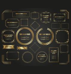 luxurious golden framesand borders set vector image
