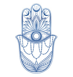 Magic talisman hamsa religion asian blue color vector