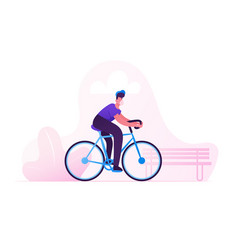 Man cyclist character in medical mask riding bike vector
