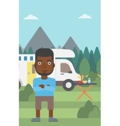 Man standing in front of motor home vector