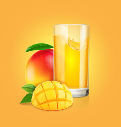 mango fruit a glass of juice with slices vector image