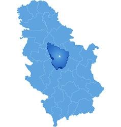 Map of Serbia Subdivision Sumadija District vector