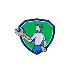 Mechanic Carrying Giant Spanner Crest Cartoon vector