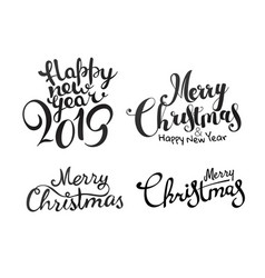 merry christmas calligraphic inscriptions set vector image