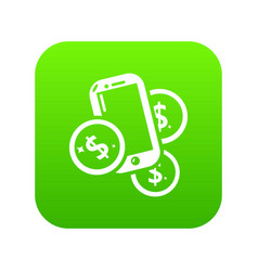 mobile money icon green vector image