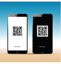 Mobile phone with scanning icon on it vector