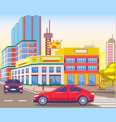 modern city streets with cars and traffic on roads vector image