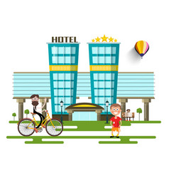 modern hotel buildings flat design city vector image