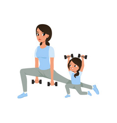 Mother and daughter doing morning exercises with vector