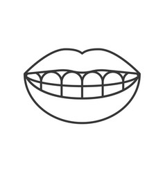Mouth with smiling teeth mouth with dental braces vector