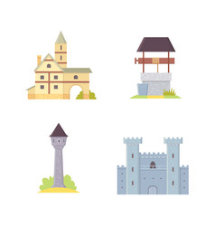 Old castle europe palace building vector