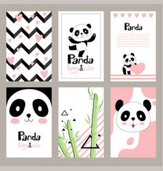 Pandas invitation cards newborn cute animals of vector