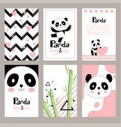 pandas invitation cards newborn cute animals vector image