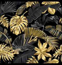 pattern with gold black tropical leaves vector image