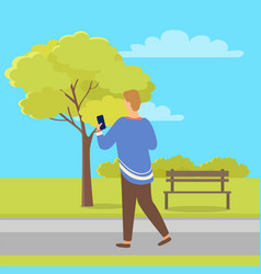 person with mobile phone back view in city park vector image