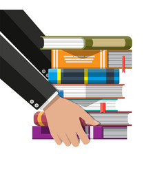 pile books in hand vector image
