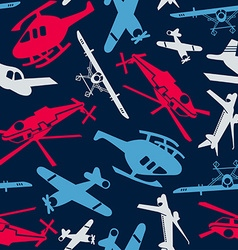 Planes and helicopters in a seamless pattern vector