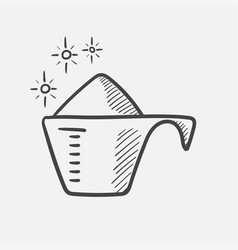 powder in a measuring cup hand drawn sketch icon vector image